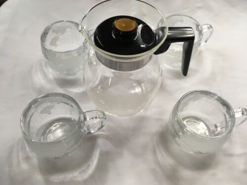 VTG Nestle Nescafé Carafe 4 Cup Glass Set Silex 6 Cup Globe 70's Coffee Maker