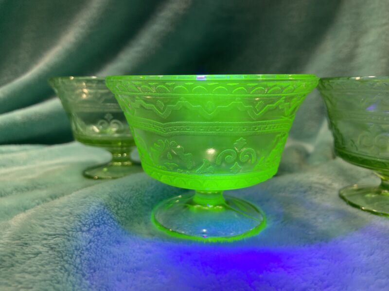 Uranium Federal Glass Co Patrician Green Dessert/Sherbert 6 Glasses 1934-37