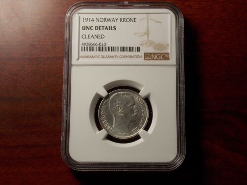 1914 Norway Krone silver coin NGC UNC