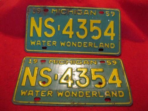 1959 Michigan License Plates-PAIR: #NS-4354 Car Plates: Calhoun County