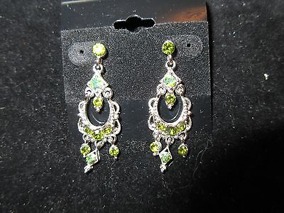 Chandelier Dangle Earrings Genuine Rhinestone Crystal Green Silver Tone Shiny