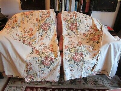 "Pair Cream Floral Design Lined  Vintage Curtain Made in Portugal 84""x 54"" Unused"