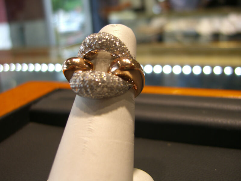 Fine Womens 2.50 Carat Ring 14 Karat White And Rose Gold Italian Designer New!!