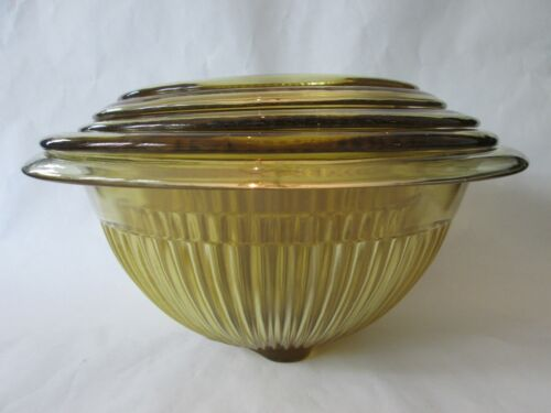NEST 5 MIXING BOWLS! Vintage FEDERAL GLASS depression: AMBER RIBBED pattern: EXC