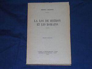 Carcopino-La-Loi-de-Hieron-et-Les-Romans-L-039-Erma-di-Bretschneider-Ed-Anastatica