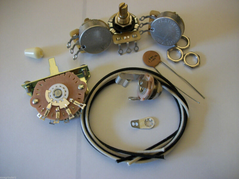 Wiring Harness Kit For Strat CTS Oak Switchcraft .1uf Tecate Ceramic Cap 1970
