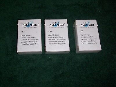 Marienfeld Microscope Slides 3x1 150 Slides50 Pieces Per Box Lot Of 3 Boxes