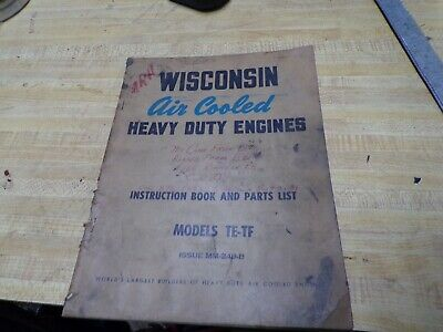 Wisconsin Air Cooled Engine Instructions Parts Book Te-tf Vintage