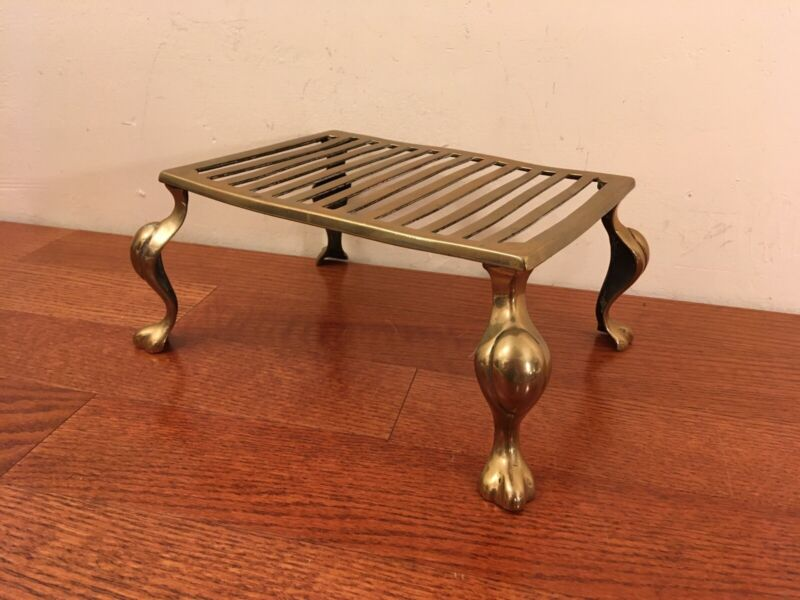 Small Antique / Vintage Brass Fireplace Footstool w/ Claw Feet