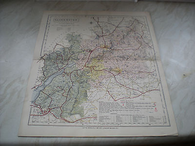 A Circa 1884 Letts Son & Co. Ltd Map Of GLOUCESTER - Measures 14 1/4