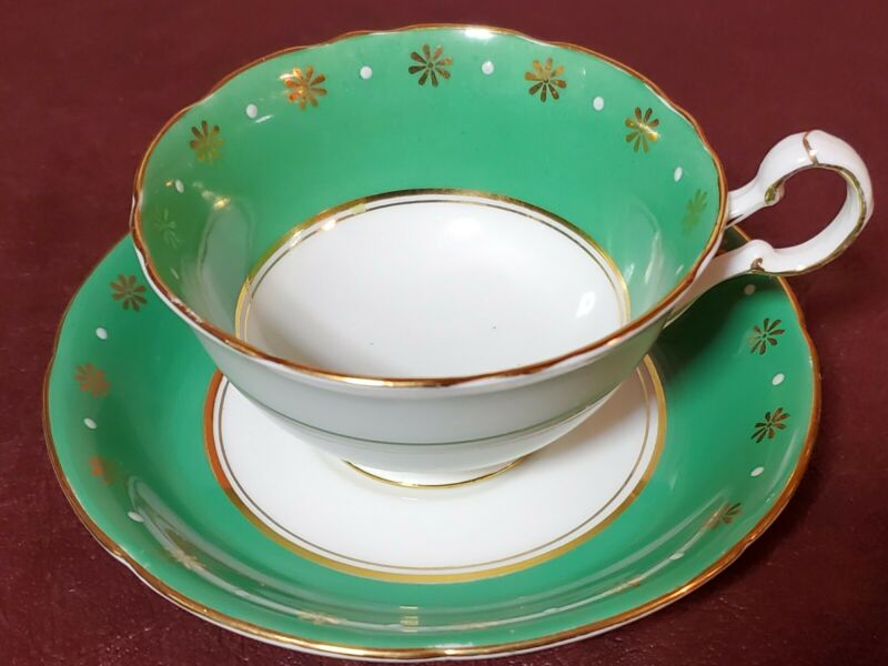 Royal Grafton, Fine Bone China Teacup and Saucer, Green and Gold