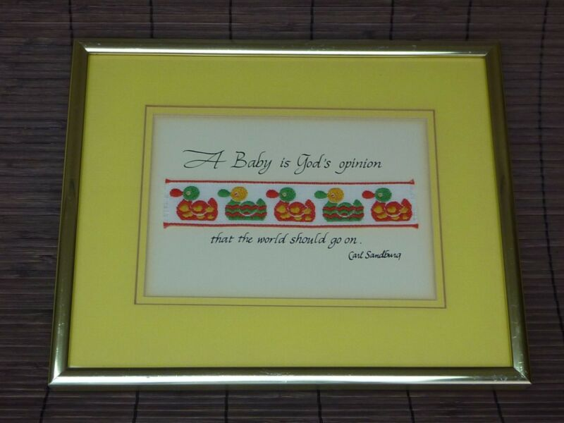 Framed Needle Art / Isidore / Sandburg Infant Baby Calligraphy Religious Ducks