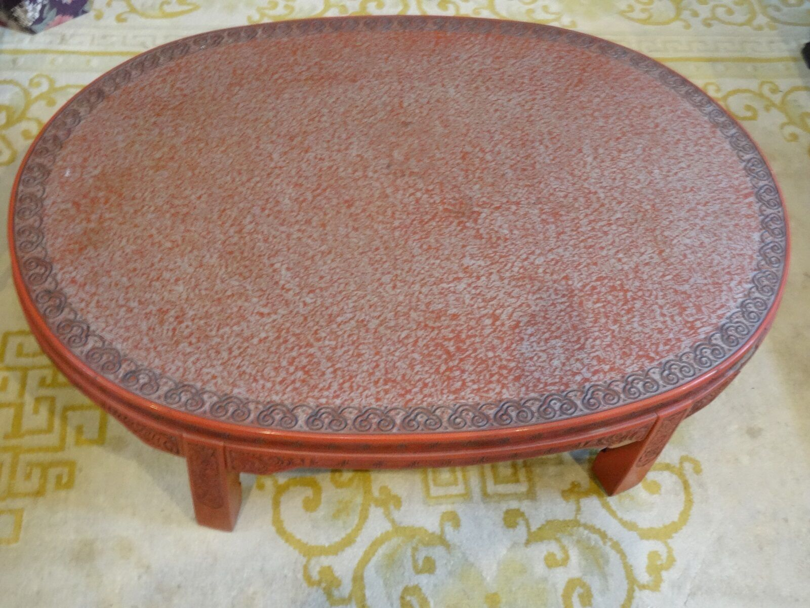 Купить ANTIQUE LATE 19 c. CHINESE LACQUER INTRICATE CARVED CINNABAR COFFEE TABLE