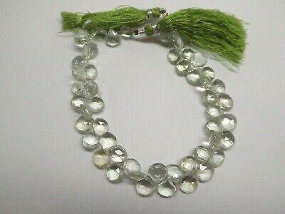 Genuine Green Amethyst Faceted Pear Shape Briolette Gemstone Beads 8