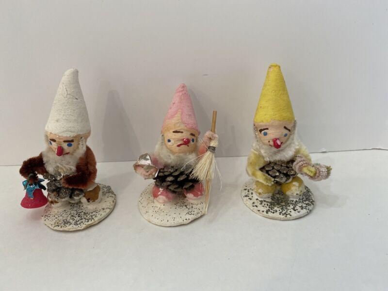 3 Vintage Christmas Ornament Pine Cone Elf Gnome Japan