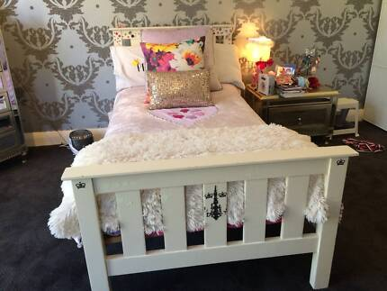 Single Bed - Wooden, White Lacquered City Beach Cambridge Area Preview
