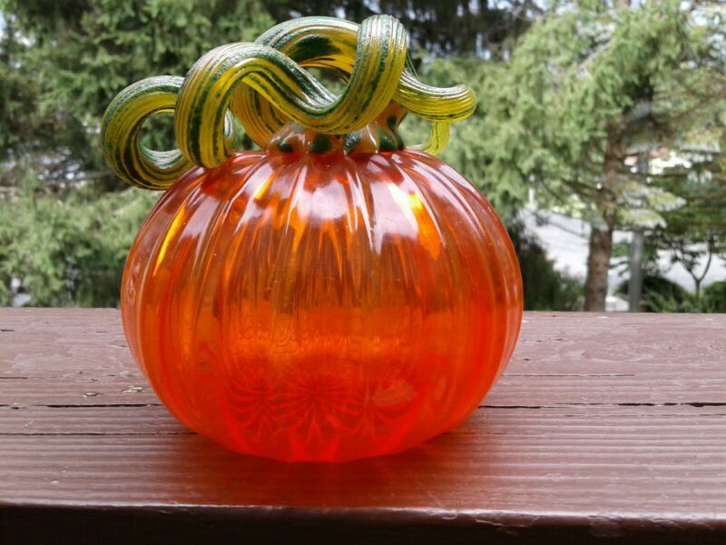 Vintage  Hand Blown Orange Glass Pumpkin, Long Twisted Stem