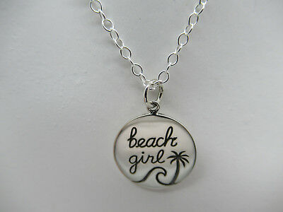 - Beach Girl Necklace Pendant Jewelry Wave Ocean Palm Tree - 925 Sterling Silver