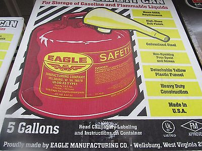 Eagle Safety Gas Can 5 Gallon Osha Nfpa Approved Ui-50-fs New
