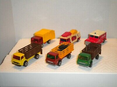 Matchbox lot of 6 trucks Cattle Truck Refuse Truck Car Carrier