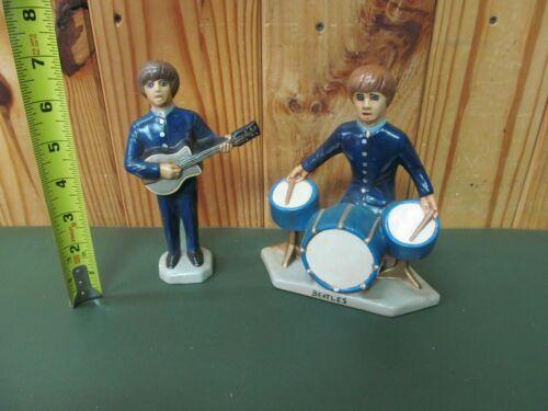 2 Vintage Beatles Painted Ceramic Pottery Figures
