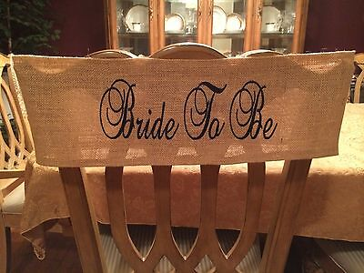 Personalized Burlap Bridal Shower Bride To Be Chair Band Sash Wrap - Bridal Shower Chair