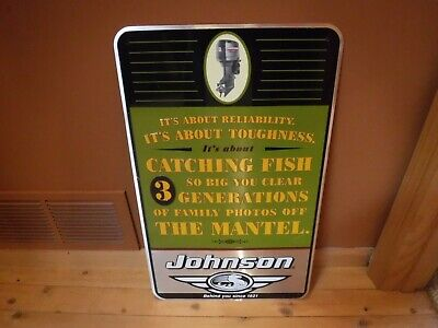 VINTAGE 1990 JOHNSON OUTBOARD MOTOR SIGN. (NOT REPRO) Evinrude mercury