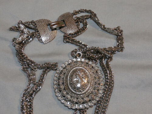 Vintage Repousse Cameo High Relief Filigree Pendant On Multi Chain Necklace