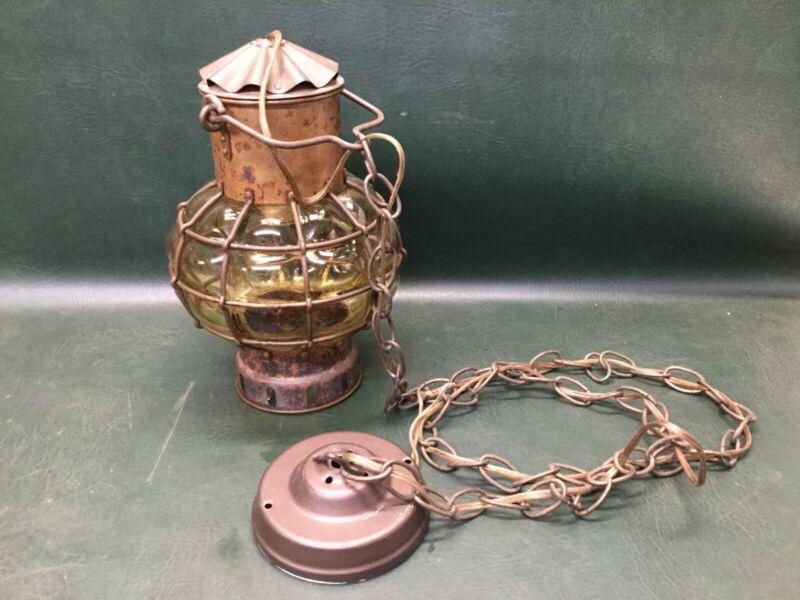Vtg Ankerlicht Lantern Nautical Ceiling Lamp Amber Glass Holland ~ Brass Copper