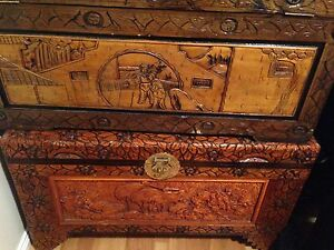 Hand Carved Wooden Camphor Chest Box  Storage Large Size Kings Park Blacktown Area Preview
