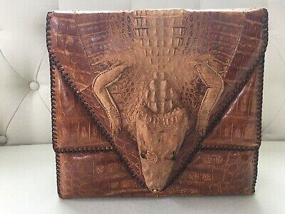 1940s Handbags and Purses History Vintage 1940's Genuine Leather Alligator Shoulder Handbag $60.00 AT vintagedancer.com