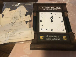 Chivas Regal 12 Years Old Whickey Wall/CNTR Clock FAUX Wood Frame 10X13-UNUSED