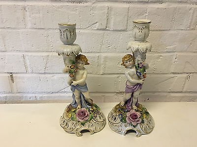 Vtg Possibly Antique Von Schierholz German Pair Porcelain Candle Holders Floral