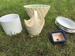 assorted retro plant pots / containers / vases