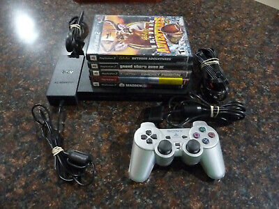 Sony PlayStation 2 PS2 Slim (SCPH-75001) Bundle w/ 5 games & Controller