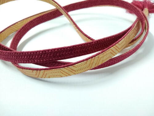 Vintage Japanese Handmade Burgundy Wine Silk & Gold Thread Obijime Obi Tie Cord