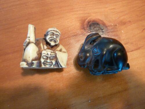 Vintage Resin Netsuke Lot of 2 Rabbit and Male Figurine