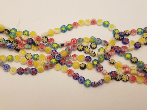 Handmade Millefiori Flat Round Glass Beads, Single Flower Design, Mixed Color