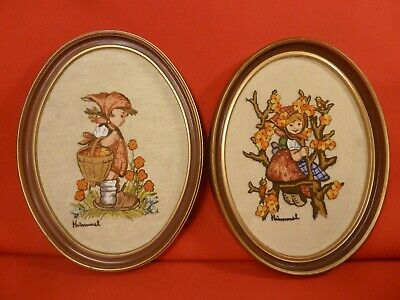 PAIR OF VINTAGE HIMMEL GIRLS HANDMADE NEEDLEPOINT EMBROIDERY WALL ART FRAME 1975