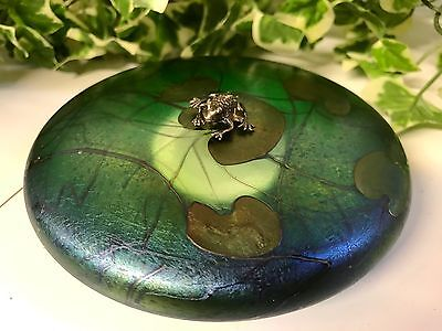 Stunning John Ditchfield Iridescent Art Glass Lilypad With Frog Paperweight