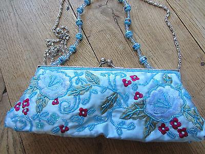 Glam Evening Wedding Prom Bag Embroider Bead Blue Satin Sequin Clutch Shoulder Glam Wedding Clutch