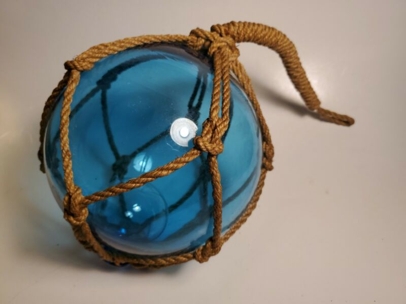 Vtg Japanese Aqua Blue Glass Fishing Float Double Bubble