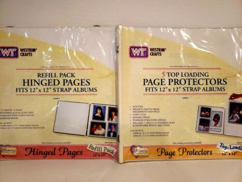 Westrim Crafts 12x12 Hinged 10 Pages 5 Top Loading Page Protectors Strap Albums