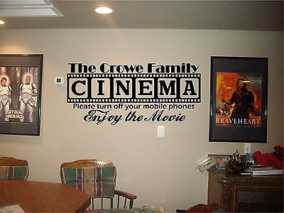 Cinema Theatre customized sign home movie theater vinyl wall decor mural - Movie Theater Wall Decor