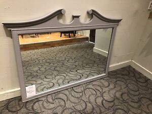 Antique solid wood mirror, painted gray