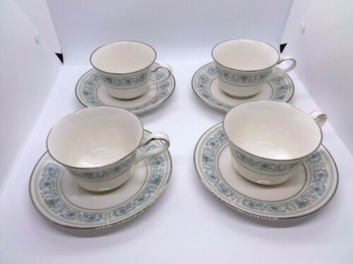 """Set of 4 Noritake Ivory China """"Monteleone""""  Footed Cups & Saucers  #7569 Retired"""