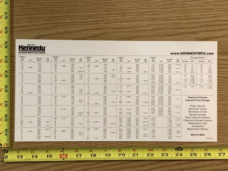 "Kennedy Magnetic Machinist Drill Size Conversion Chart 14"" x 7"" 35.5cm x 17.7cm"