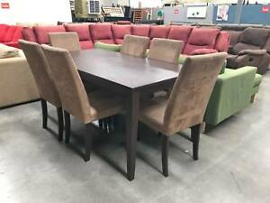 7 pcs MODERN CHOCOLATE dining table & chair - SOLD, SIMILAR AVAIL