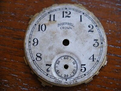 VINTAGE WATCH DIAL FACE 41.4 MM DIA INGERSOLL CROWN USA