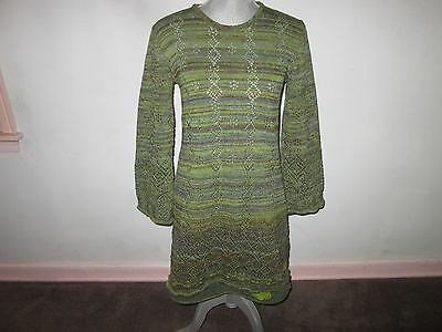 New LELE Weighty Green Cotton Linen Sweater Knit 2 Piece Tunic& Skirt Set S/M
